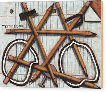 Wood Print featuring the painting Tommervik Orange Bicycle Art Print by Tommervik