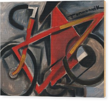 Tommervik Red Ten Speed Bike Art Print Wood Print by Tommervik