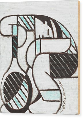 Wood Print featuring the painting Tommervik Tennis Player Resting Tennis Art Print by Tommervik