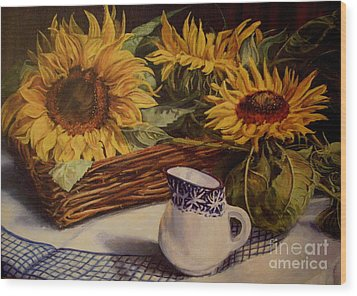 Tony's Sunflowers Wood Print
