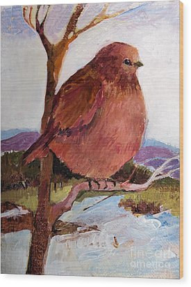 Wood Print featuring the painting Too Fat To Fly by Diane Ursin