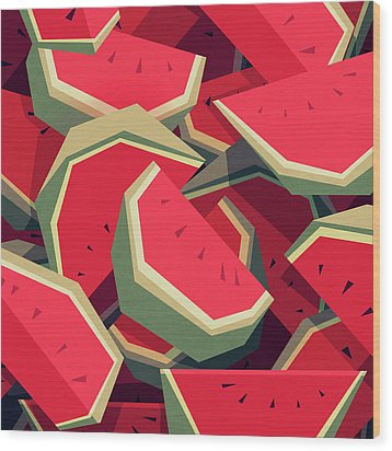 Too Many Watermelons Wood Print