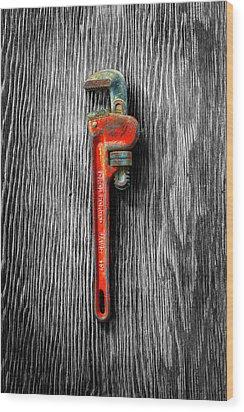 Tools On Wood 62 On Bw Wood Print by YoPedro