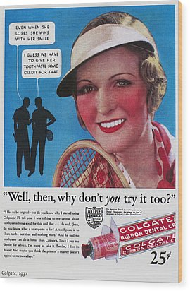 Toothpaste Ad, 1932 Wood Print by Granger