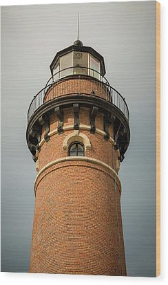 Wood Print featuring the photograph Top Of Little Sable Point Lighthouse by Adam Romanowicz