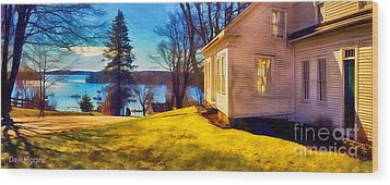 Top Of The Hill, Friendship, Maine Wood Print by Dave Higgins