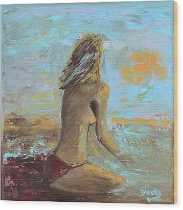 Topless Beach Wood Print by Donna Blackhall