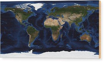 Topographic & Bathymetric Shading Wood Print by Stocktrek Images