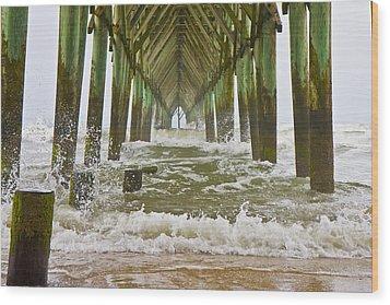 Topsail Island Pier Wood Print by Betsy Knapp