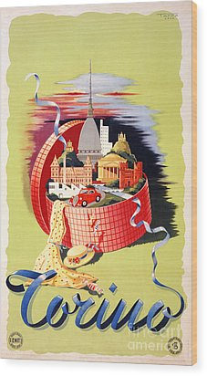 Torino Turin Italy Vintage Travel Poster Restored Wood Print