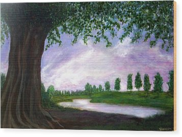 Tormented Tree In Serene Sunset Wood Print
