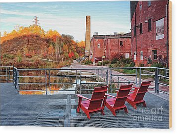 Wood Print featuring the photograph Toronto Brickworks Autumn View by Charline Xia