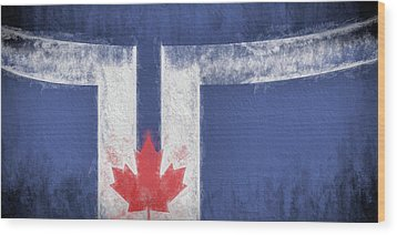Wood Print featuring the digital art Toronto Canada City Flag by JC Findley