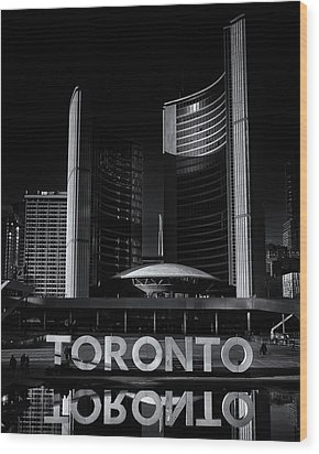 Wood Print featuring the photograph Toronto City Hall No 1 by Brian Carson