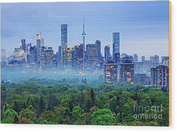 Toronto Downtown And Midtown Evening Clouds Wood Print by Charline Xia