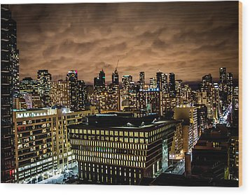 Toronto Dusk Wood Print