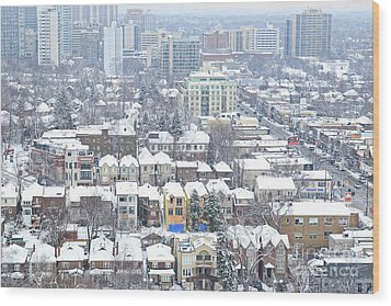 Wood Print featuring the photograph Toronto Midtown Fresh Snow by Charline Xia