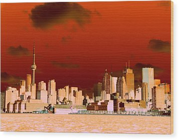 Wood Print featuring the photograph Toronto Red Skyline by Valentino Visentini