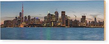 Wood Print featuring the photograph Toronto Skyline At Dusk Panoramic by Adam Romanowicz