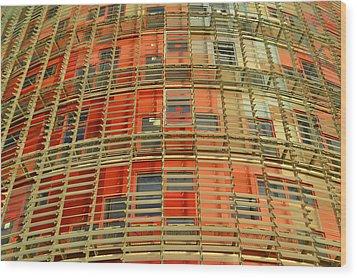 Wood Print featuring the photograph Torre Agbar Modern Facade by Marek Stepan