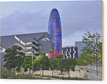 Wood Print featuring the photograph Torre Agbar Barcelona  by Marek Stepan
