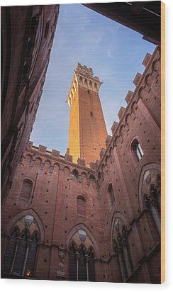 Wood Print featuring the photograph Torre Del Mangia Siena Italy by Joan Carroll