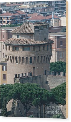 Torre San Giovanni St Johns Tower On The Ramparts Of The Walls Of The Vatican City Rome Wood Print by Andy Smy
