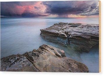 Wood Print featuring the photograph Torrey Pines - Flat Rock Storm by Alexander Kunz