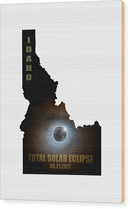Total Solar Eclipse In Idaho Map Outline Wood Print by David Gn