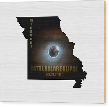 Total Solar Eclipse In Missouri Map Outline Wood Print by David Gn