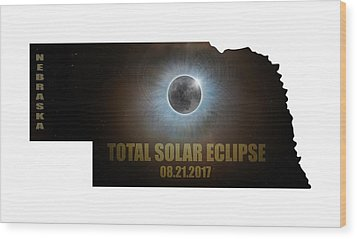 Total Solar Eclipse In Nebraska Map Outline Wood Print by David Gn