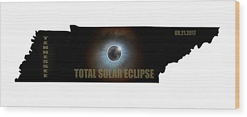 Total Solar Eclipse In Tennessee Map Outline Wood Print by David Gn