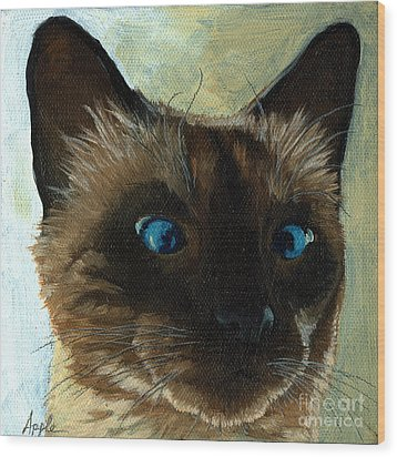 Totally Siamese - Cat Portrait Oil Painting Wood Print by Linda Apple
