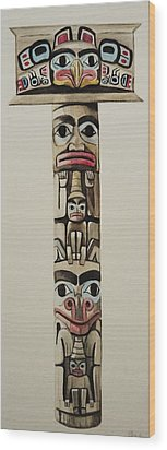Totem Pole Wood Print by Lucy Deane