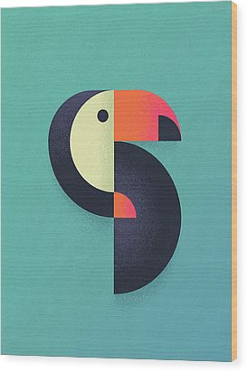 Toucan Geometric Airbrush Effect Wood Print