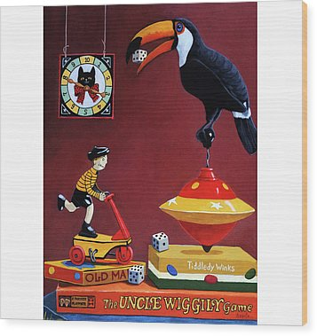 Wood Print featuring the painting Toucan Play At This Game by Linda Apple