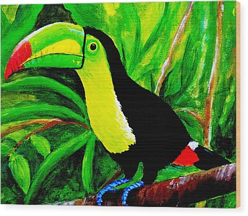 Toucan Sam Wood Print by Anne Marie Brown