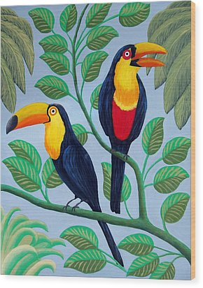 Wood Print featuring the painting Toucans by Frederic Kohli