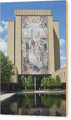 Touchdown Jesus Mural Wood Print by Sally Weigand