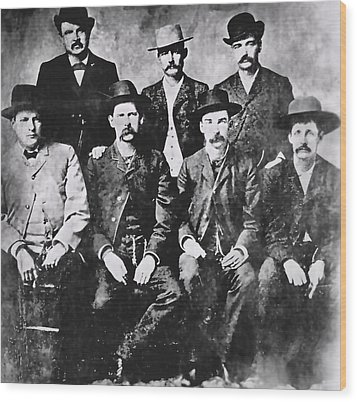 Tough Men Of The Old West Wood Print by Daniel Hagerman