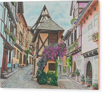 Touring In Eguisheim Wood Print by Charlotte Blanchard