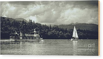 Touring The Lakes In Sepia Wood Print