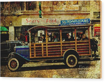 Touring The Streets Of San Francisco . Texture Wood Print by Wingsdomain Art and Photography