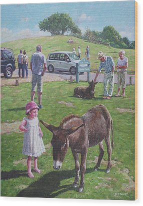 Wood Print featuring the painting Tourists At Boltons Bench New Forest  by Martin Davey