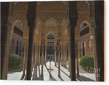 Tourists In The Courtyard In The Patio De Los Leones Area At Alhambra Wood Print by Sami Sarkis
