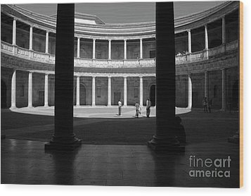 Tourists Inside A Courtyard At The Palace Of Charles V At Alhambra Wood Print by Sami Sarkis