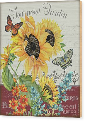 Wood Print featuring the painting Tournesol Jardin-jp3986 by Jean Plout