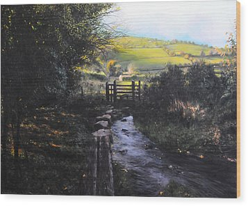 Towards Llanferres Wood Print