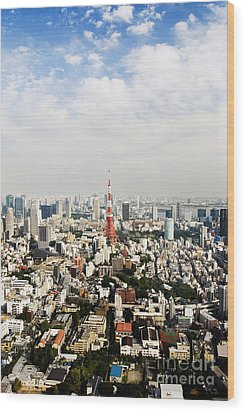 Tower And City View Wood Print by Bill Brennan - Printscapes