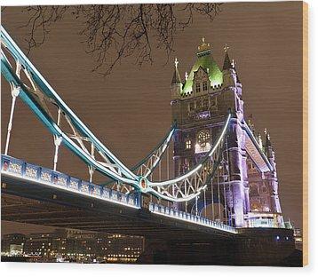 Tower Bridge Lights Wood Print by Rae Tucker